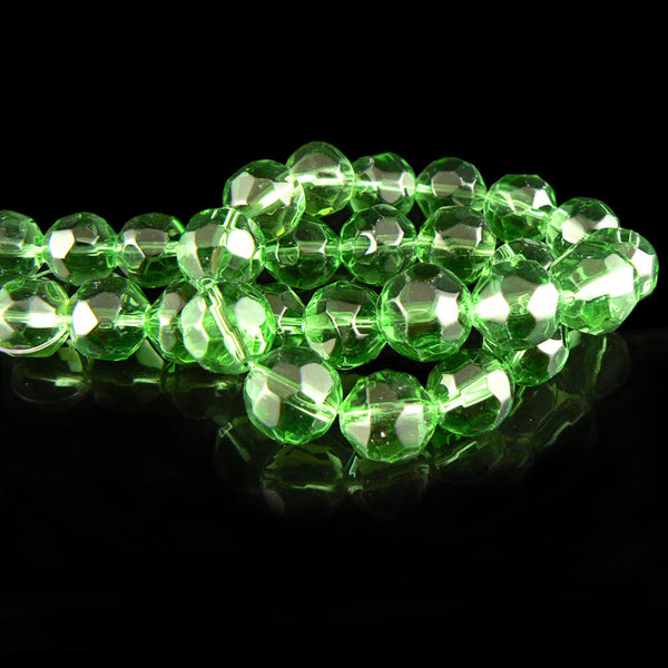 12mm faceted round, spring green, glass beads, 12 inch strand