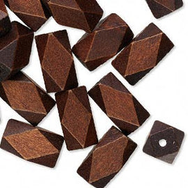 22mm x 13mm dark brown wood faceted tubes, 10 pcs.
