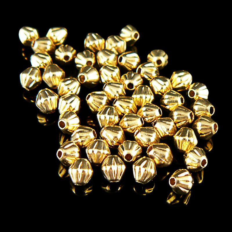 3mm gold plated brass corrugated bi-cone beads, 100 pieces