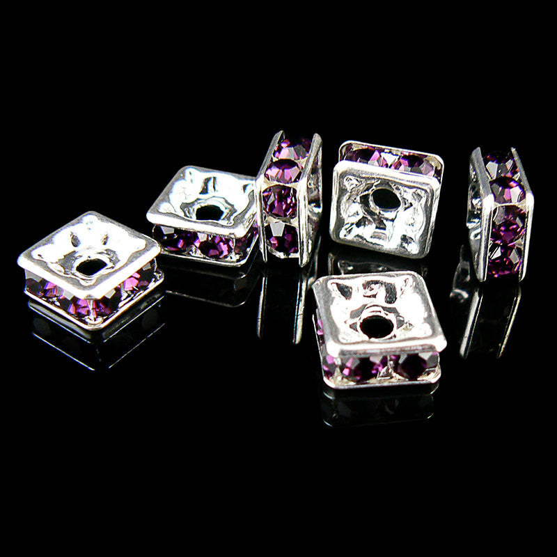 8mm silver plated squardelles with amethyst rhinestones, 6 beads