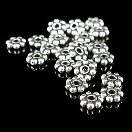 4mm silver plated, antiqued, beaded heishi spacer beads, 25 pcs.