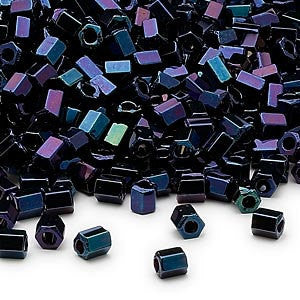 Size 6/0 hex 2 cut iris blue Dyna-Mites glass seed beads, 20 grams, approximately 340 beads