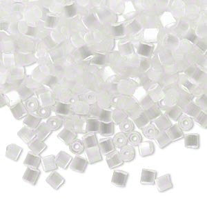 Size 6/0 silk eggshell white hex-cut Dyna-Mites glass seed beads, 1/2 kilo, approx. 8,600 beads