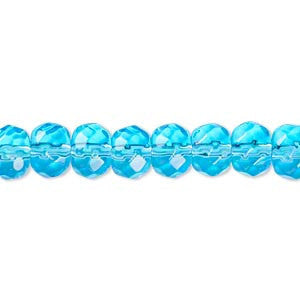 7x6mm - 8x6mm faceted rondelle, aqua, glass beads, 12 in strand