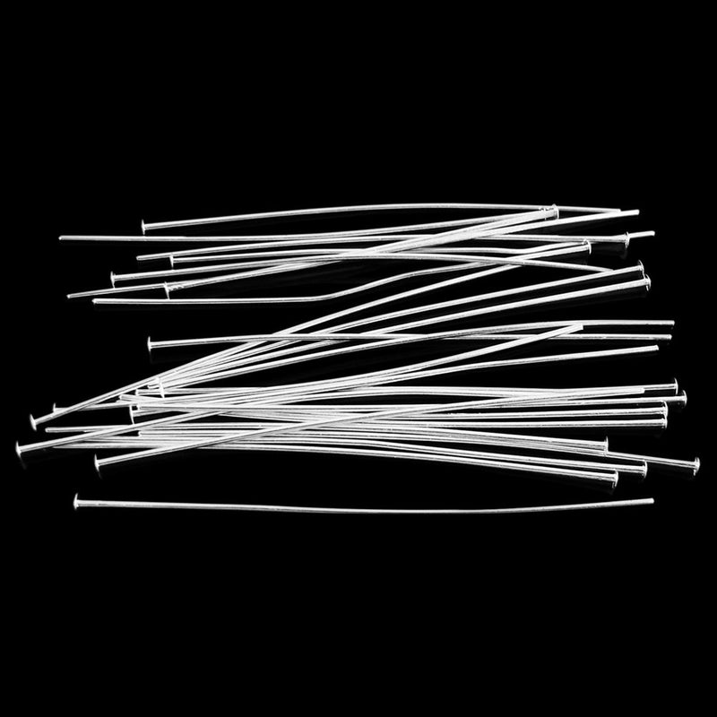 "2.25"", 21 gauge silver plated headpins, 36 pcs."