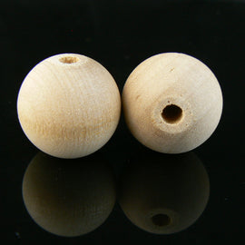 20mm natural wood round beads, 12 pcs.