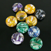 12mm Mother of pearl & resin assorted color puffed, flat coin beads, 10 pcs.