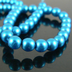4mm matte electric turquoise glass pearls, 8 inch strand