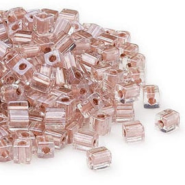 4mm metallic copper color lined clear square beads, Miyuki # SB2602, 20 grams, approx. 208 beads