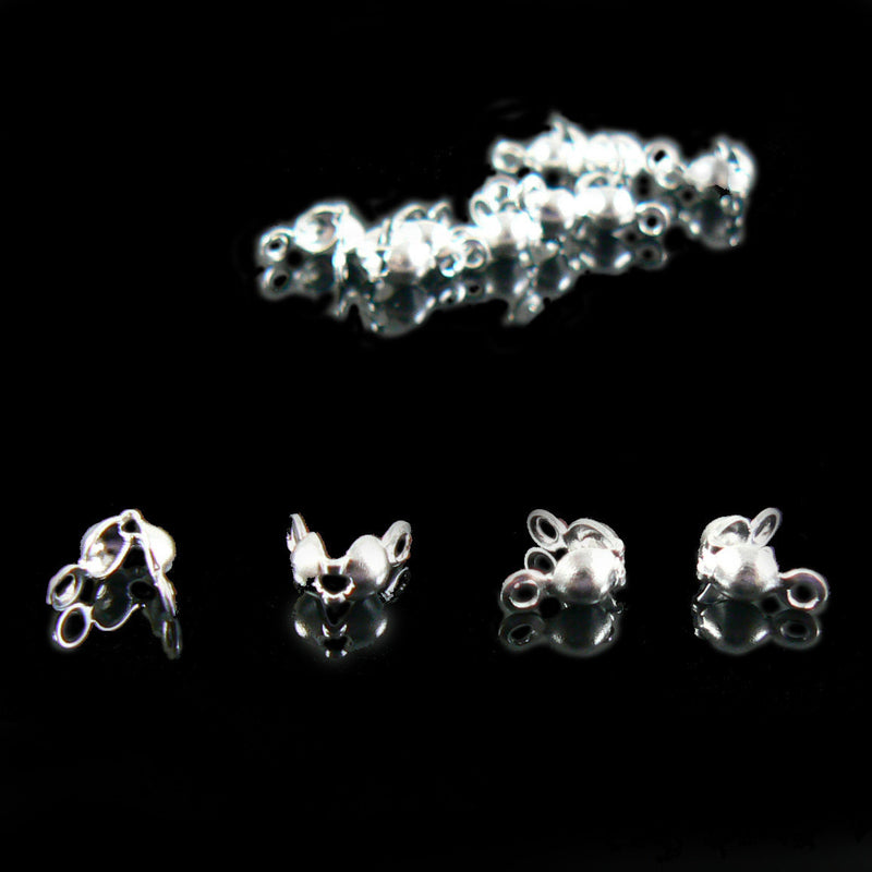 4mm silver plated clamshell bead tips w/ 2 loops, 144 pieces WHOLESALE