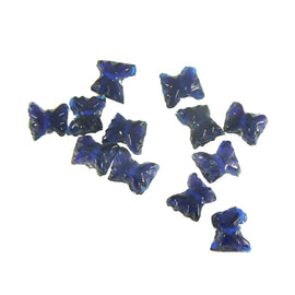 9mm x 8mm transparent cobalt blue pressed glass butterfly shaped beads, 50 pcs.