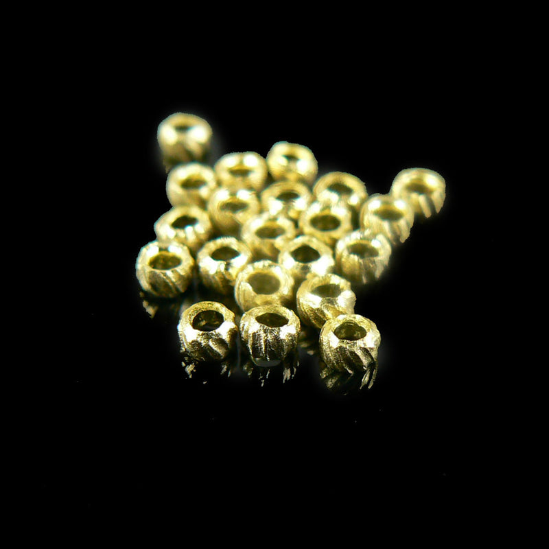 1mm inside diameter gold plated corrugated crimp beads, 100 pcs