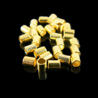 Size 4, 2.5mm outside diameter gold plated crimp tubes, 2 grams (~ 42- 44 pcs)