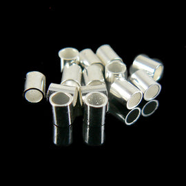 2mm inside diameter, size 4 silver plated crimp tubes, 20 grams (~ 420- 440 pcs)