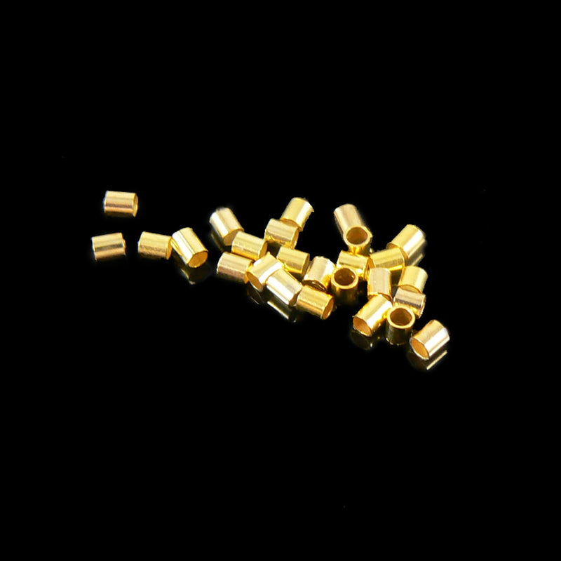 1.8mm outside diameter gold plated crimp tubes, 2 grams (~ 140 pcs)