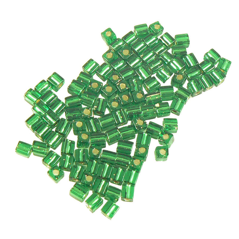 4mm silver lined green square beads, Miyuki # SB16, 20 grams, approx 208 beads