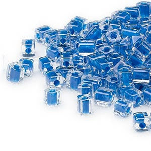 4mm clear color lined blue square beads, Miyuki # SB238, 20 grams, approx. 208 beads. School color, tropical, ocean blue, Summer, Hanukkah