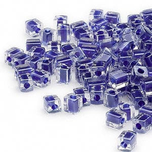 4mm clear color lined cobalt blue square beads, Miyuki # SB239, 20 grams, approx 208 beads. School color, purple blue, Mardi Gras, tropical