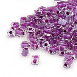 4mm clear color lined purple square beads, Miyuki # SB243, 20 grams, approx. 208 beads