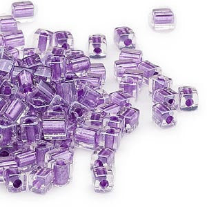 4mm clear color lined metallic violet square beads, Miyuki # SB2607, 20 grams, approx. 208 beads. Spring, Summer, tropical, beach, purple