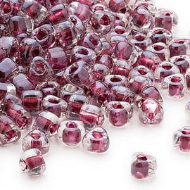 4mm clear color lined wine Miyuki # TR1118 triangle glass beads, 20 grams, approx 250 beads