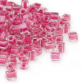 4mm clear color lined metallic pink square beads, Miyuki # SB2603, 20 grams, approx. 208 beads