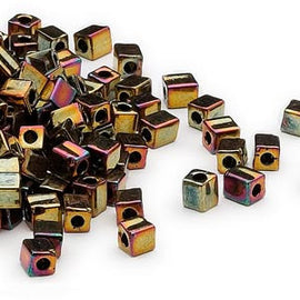 4mm opaque metallic bronze iris square beads, Miyuki # SB462, 20 grams, approx. 208 beads