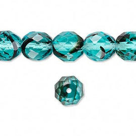 "10mm turquoise blue & black round Czech fire polished facted glass beads, 6.5"" strand (16 beads)"