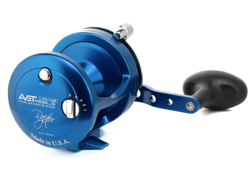 AVET LX 6/3 MC RAPTOR LEVER DRAG CASTING REEL lever drag Avet Right Hand Blue