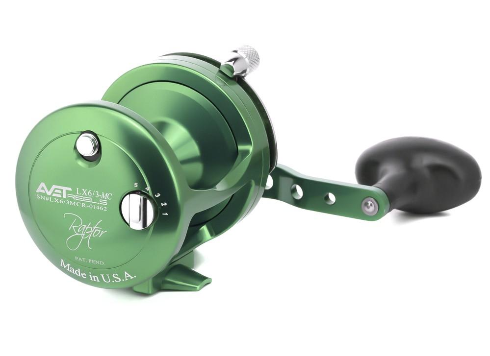 AVET LX 6/3 MC RAPTOR LEVER DRAG CASTING REEL lever drag Avet Right Hand Green