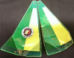 "Shortbus 5.5"" Triangle Flashers Trolling Attraction Shortbus 5.5"" Kelly Green/ Chartreuse"