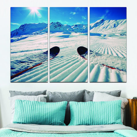 snow skiing wall art canvas
