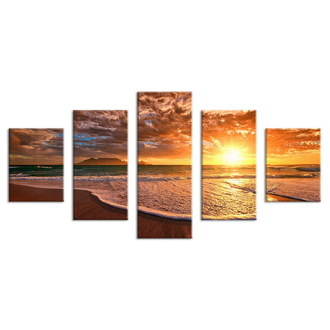 Moment before Sunset on Beach Paradise Multi Panel Wall Art Canvas