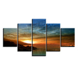 Sunset & Sunrise at Waterfall Multi Panel Wall Art Canvas