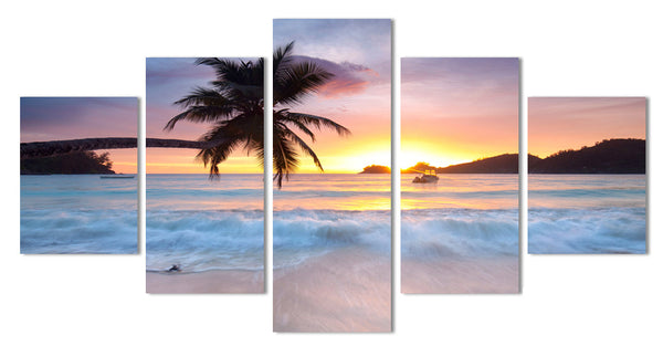 Sunset Sunrise with Tropical Palm Tree Multi Panel Wall Art Canvas
