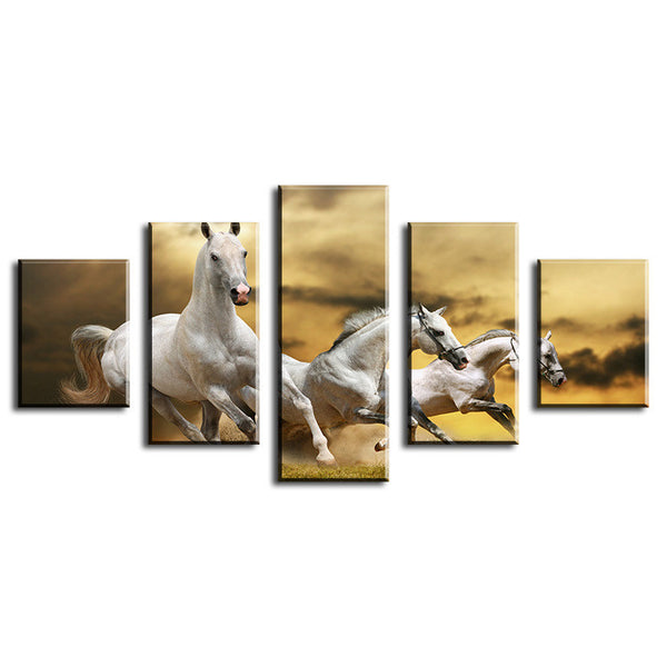 white mustangs galloping wall art canvas