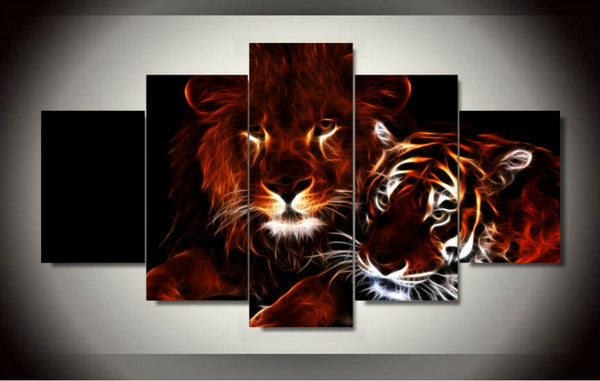 lion and tiger wall art canvas