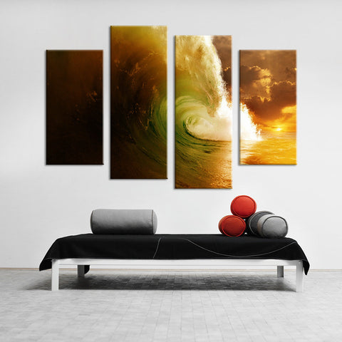 Barrel Waves at Sunset Multi Panel Wall Art Canvas