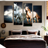 white and gold mustang stallion running galloping wall art canvas