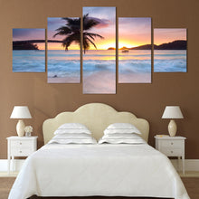 Copy of Sunset Sunrise with Tropical Palm Tree Multi Panel Wall Art Canvas