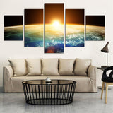 Sunrise Sunset from Space Multi Panel Wall Art Canvas