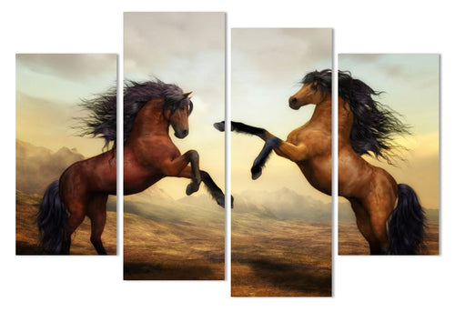 brown mustang stallion rearing wall art canvas