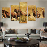 wild horses running galloping in the desert wall art canvas