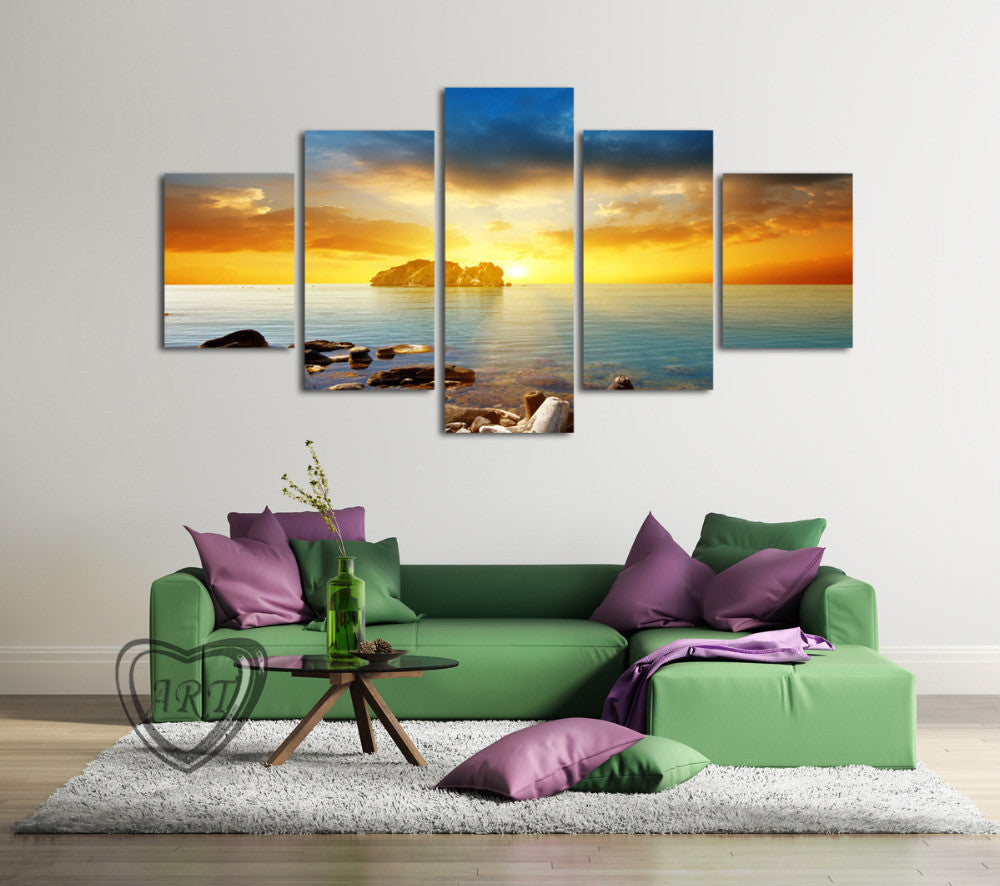 Sunset Sunrise on Deserted Tropical Island Multi Panel Wall Art Canvas