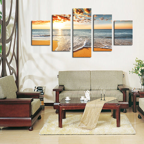 Tropical Sunset on a Secluded Beach Multi Panel Wall Art Canvas