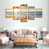 Tropical Sunset on a deserted Beach Multi Panel Wall Art Canvas