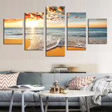 Tropical Sunset on a deserted Beach Print Decor Wall Art Canvas