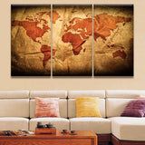 world map on paper wall art canvas