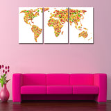 world map fruits global wall art canvas