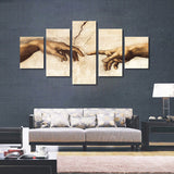 Michelangelo Creation of Adam Fingers touching wall art canvas